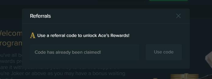 Use a Promo Code to unlock Duelbits Ace's Rewards