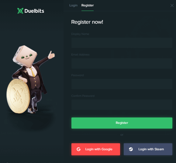 Register now with duelbits coupon